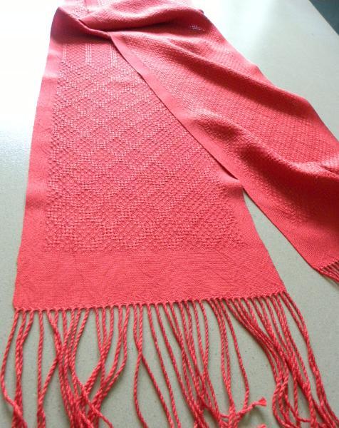 Echarpe en soie, 14 fils au cm